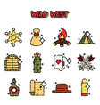 wild west cartoon concept icons vector image