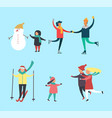winter snowman and kids families activity vector image vector image