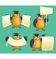 wise owls with blank sign copy space for own text vector image vector image
