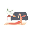 woman exercises at home stretches out curves her vector image vector image
