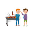 friends preparing barbecue talking and drinking vector image