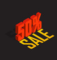 50 percent off sale red isometric object 3d vector image
