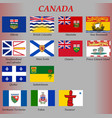 all flags canada regions vector image