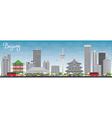 Beijing Skyline with Gray Buildings vector image vector image