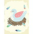 bird nest with mother vector image vector image