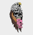 birds skull and flower vector image vector image