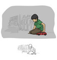 boy playing car toy in his room vector image
