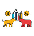 bull and bear chart exchange stock market vector image