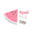 card with cartoon watermelon vector image