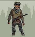 cartoon apocalypse man with respiratory mask and vector image