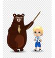 cartoon bear teacher and school boy sitting on vector image vector image