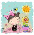 cartoon girl on the meadow with flowers vector image vector image