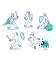 character set fight covid19 corona virus doctor vector image vector image