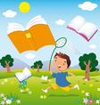 child on the hunt for books vector image