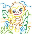 coloring book of monkey eat vector image vector image