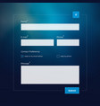 contact form on blue blured background vector image vector image