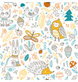 cute forest animals and elements seamless pattern vector image