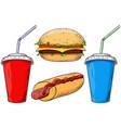 fast food set cheeseburger hot dog and drinks vector image vector image