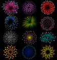 Fireworks set on black background vector image vector image