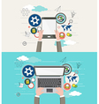 flat design modern creative office workspace vector image