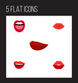 flat icon lips set of kiss lips tongue and other vector image vector image