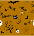 halloween seamless pattern design with ghost vector image