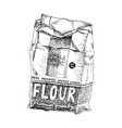 hand drawn soft package with flour vector image vector image