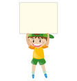 happy boy holding blank sign vector image vector image