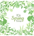 Its spring time green card design text in floral vector image vector image