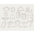 Kitchen Utensils hand drawn style vector image
