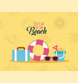 lets go beach background flat vector image