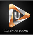 letter u logo symbol in the colorful triangle on vector image vector image