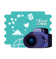 photographic camera with social media set icons vector image vector image