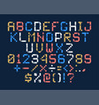 pixel art alphabet colorful letters consist of vector image vector image
