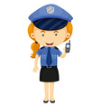 Policewoman in blue uniform vector image vector image