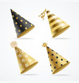 realistic detailed 3d gold hat party set vector image