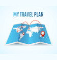 realistic detailed 3d travel plan map concept vector image