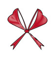 red bow ribbon decoration christmas celebration vector image vector image