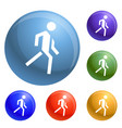 running man icons set vector image