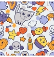 Seamless halloween kawaii pattern with cute vector image vector image