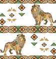 Seamless lion pattern made from flowers leaves vector image