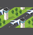 seamless pattern isometric 3d city airport vector image