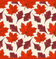 seamless pattern with maple and hawthorn leaves vector image