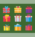 set of parcel package icons in decorative wrapping vector image vector image