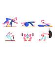 set people engage fitness aerobics sport vector image vector image