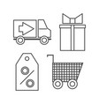 shopping icons set outline on white background vector image vector image