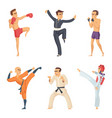 sport characters in action poses taekwondo karate vector image
