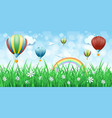 spring background with hot air balloons vector image vector image