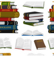 stack books seamless pattern background for vector image vector image