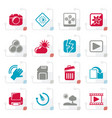 stylized photography and camera function icons vector image